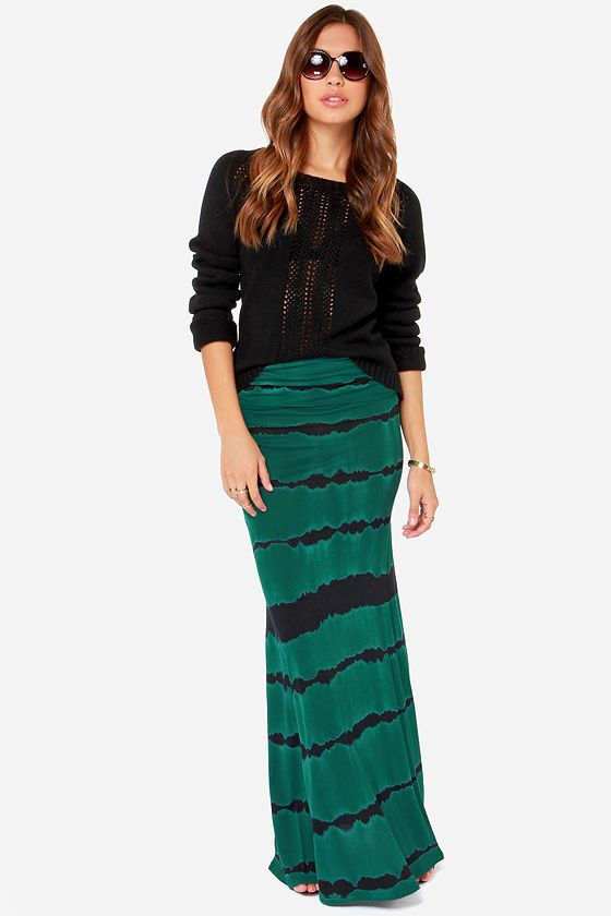 Billabong Better Than This Dark Green Tie-Dye Maxi Skirt at LuLus.com!