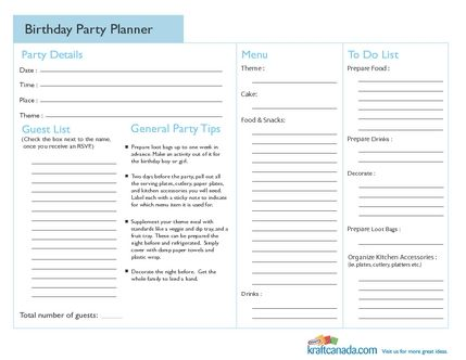 Birthday Party Planner Party planning Pinterest Party - birthday party planning checklist template
