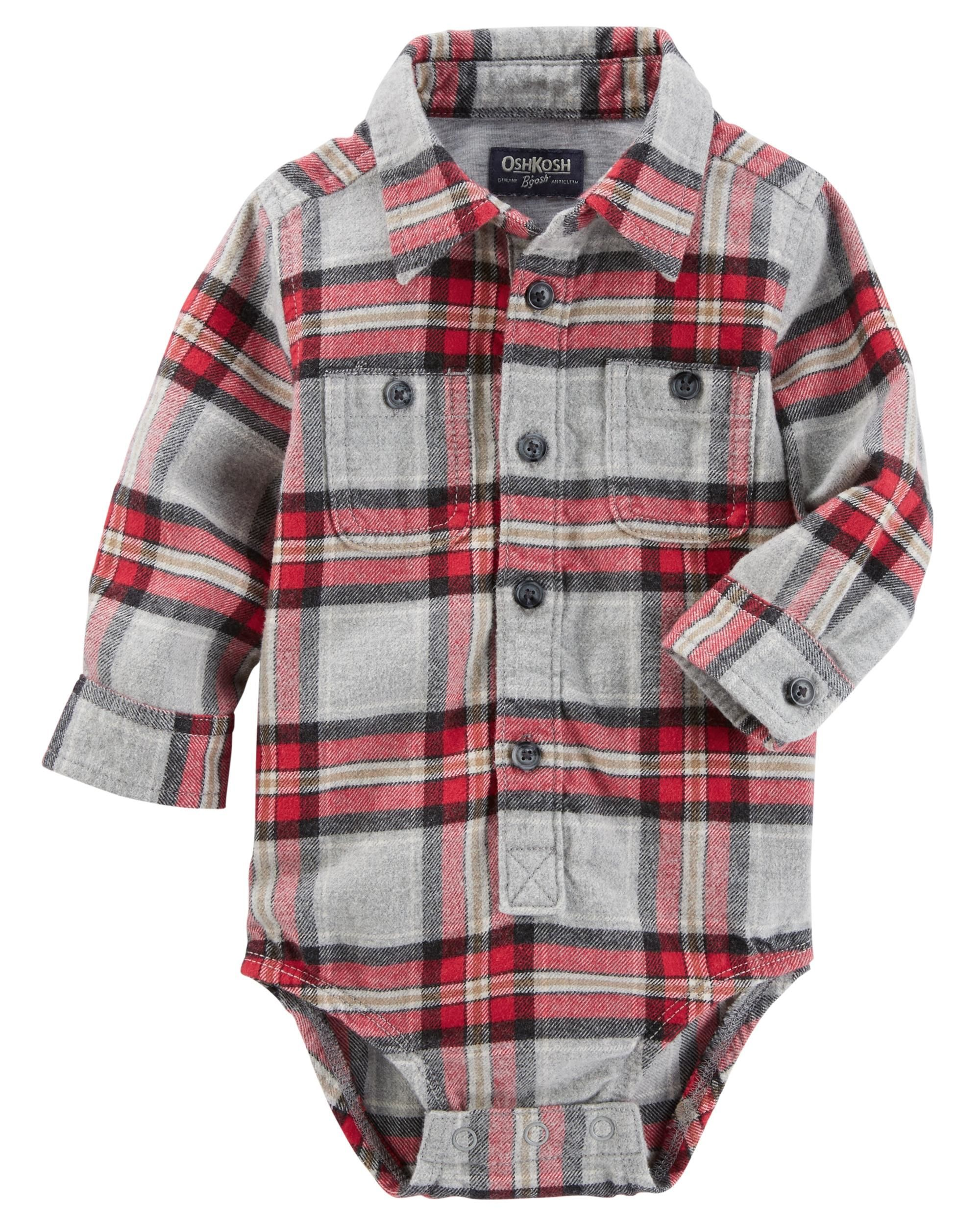 Flannel shirt for baby boy  ButtonFront Plaid Flannel Bodysuit  Plaid flannel Flannels and