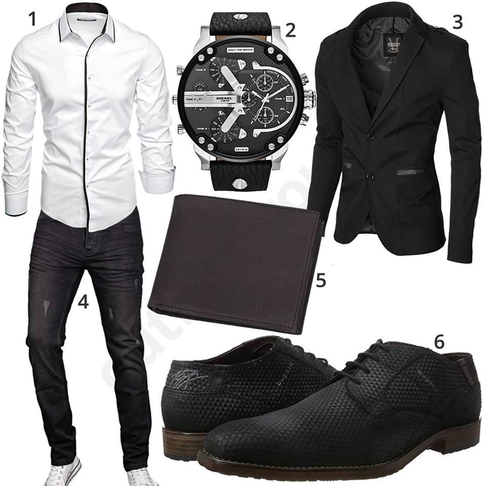 Schwarz Weißes Herrenoutfit mit Hemd, Sakko und Uhr   Herren