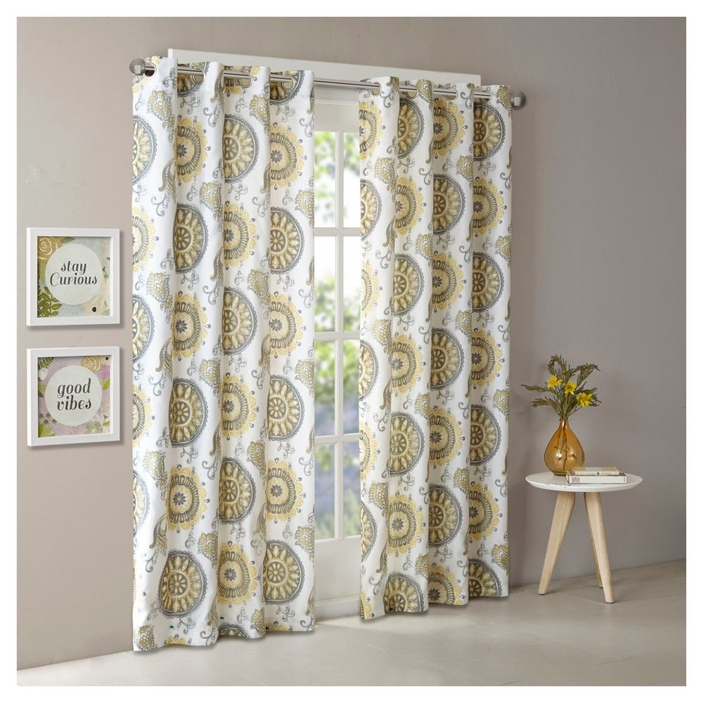 Adria two layer printed window curtain panel yellow