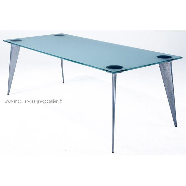 philippe starck table haute modle m pour la serie lang dessin en plateau rectangulaire en verre sabl pos sur 4 pieds sabre en fonte daluminium poli - Pied Rectangulaire Pour Table