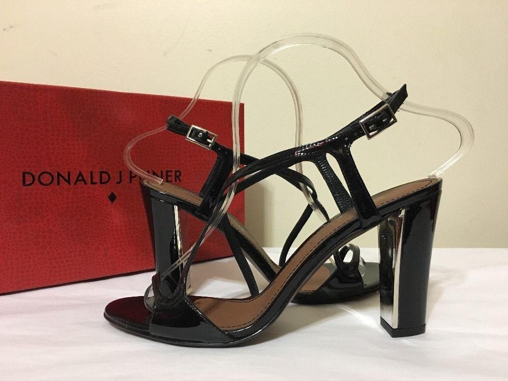Donald J Pliner Arena Black Patent Leather Women's Strappy Heels Sandals  7.5 M #DonaldJPliner #