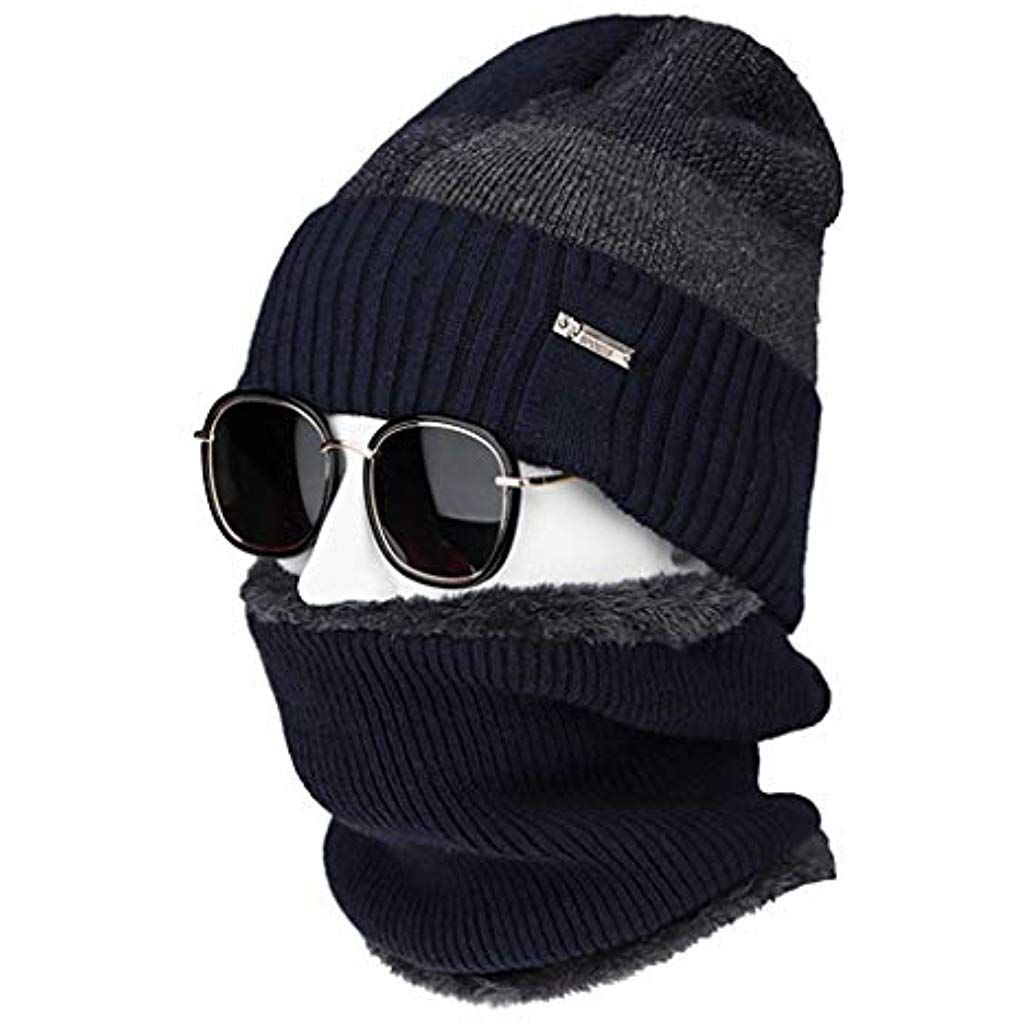 Ding-dong Baby Kid Girl Winter Geometry Fleece Hat+Scarf 2Pieces Set