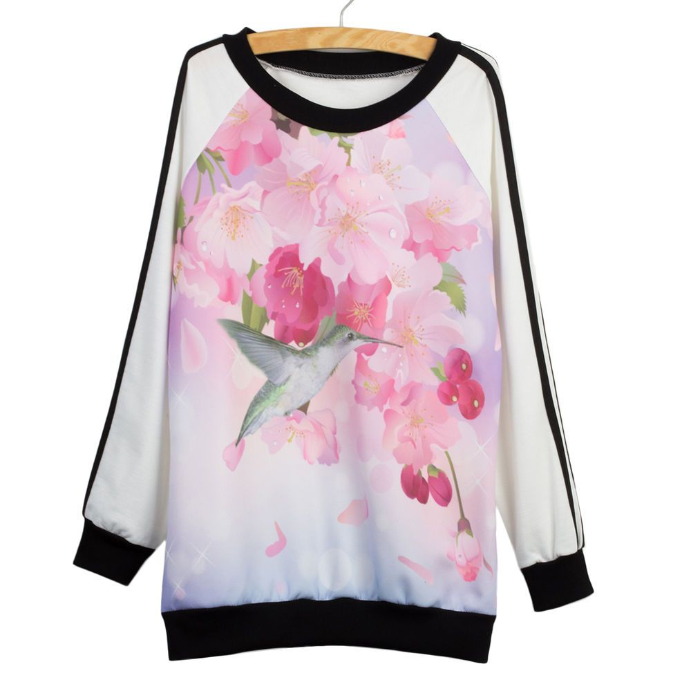 Women Autumn Ladies Hoodie Floral Loose Girl Top Sweat Shirt Jacket Coat Sweater
