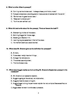 This is a test for the book Wonder by R.J. Palacio. The test ...