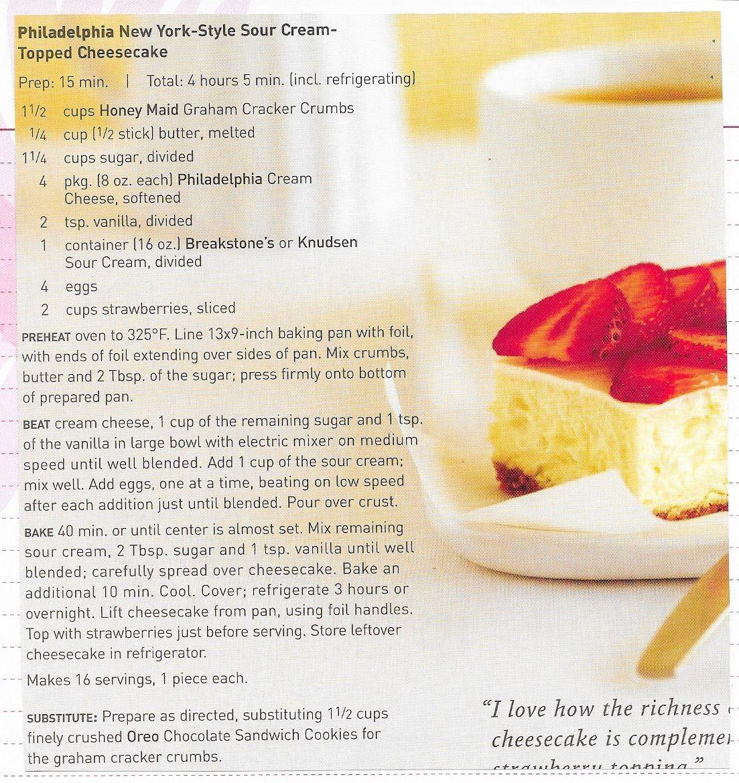 Philadelphia New York Style Sour Cream Topped Cheesecake Honey Maid Graham Crackers Stick Of Butter Sour Cream Cheesecake