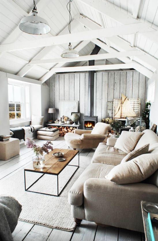 tour a cozy rental in cornwall we want to live in stylish spaces rh pinterest com Wood Beams in Living Room Modern Ceiling Design
