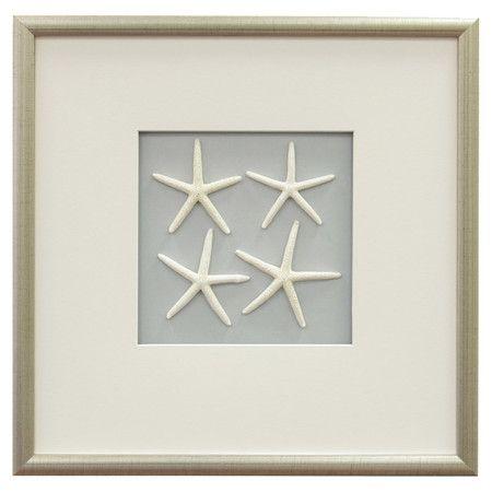 Starfish Framed Wall Decor In White Stars Wall Decor Frame Wall Decor Coastal Decor