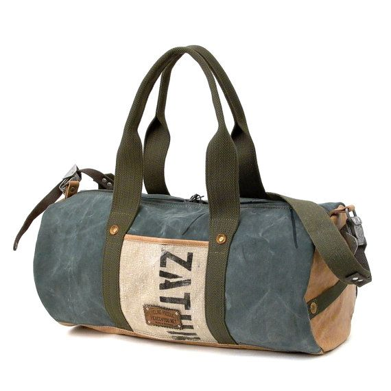 f5bc3b628728 Weekender Gym Bag German Army Duffel Leather by peace4youBAGS