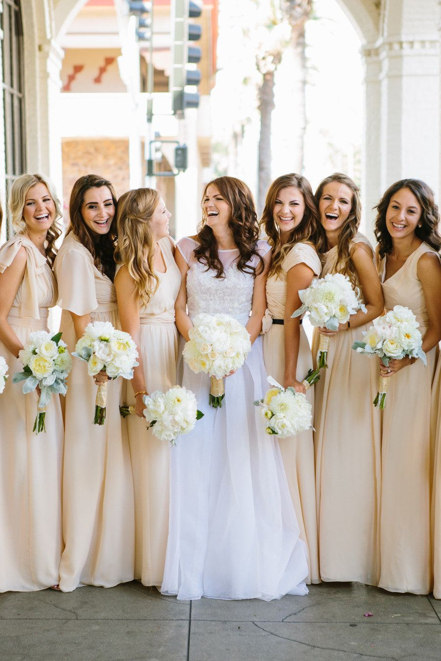 Riverside Wedding From Kayla Adams Beautiful Bridesmaids Cream Bridesmaid Dresses Riverside Weddings