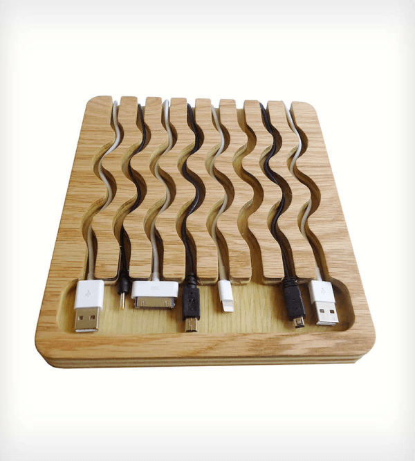 laser cut waves in wood cable cord organizer charging station