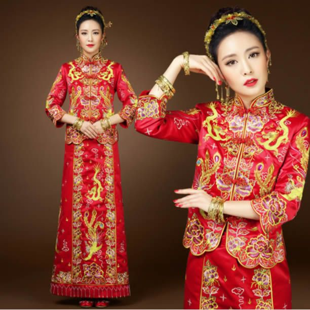 Red Embroidered Long Sleeve Vintage Chinese Wedding Dress Suits Outfit  SKU-1221049. Chinese Wedding DressesBridal ... 011993f08aa2