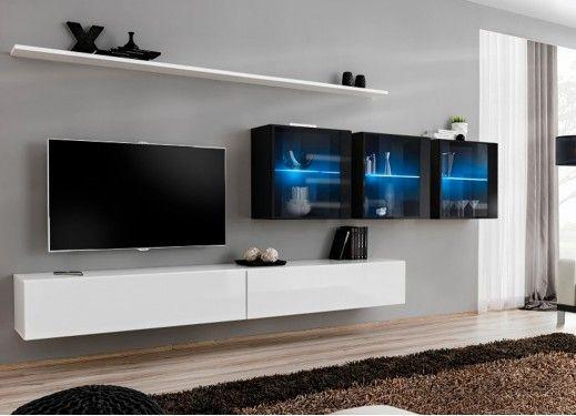 Meuble TV mural design à led bleu | décoration murale | Pinterest ...