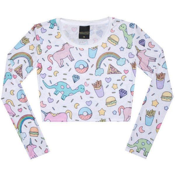 b1fb1112f3b Unicorn Crop Top Long Sleeve Tank T Shirt Womens Ladies Girls Top... (