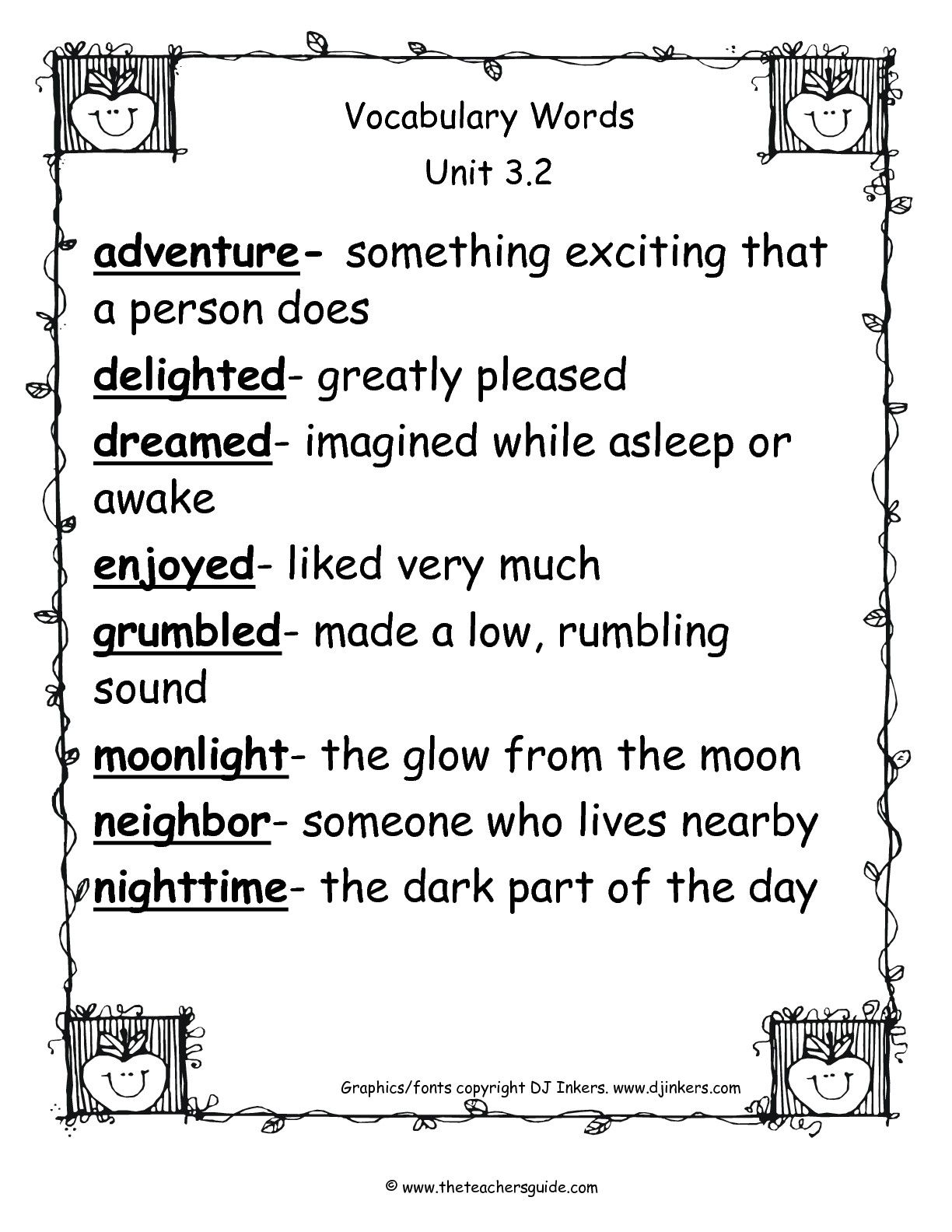 Free 1st Grade Vocabulary Worksheets Pictures