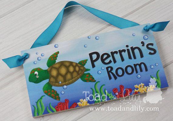 Sea Tutle Ocean Creatures Girls Bedroom Baby by ToadAndLily Ocean