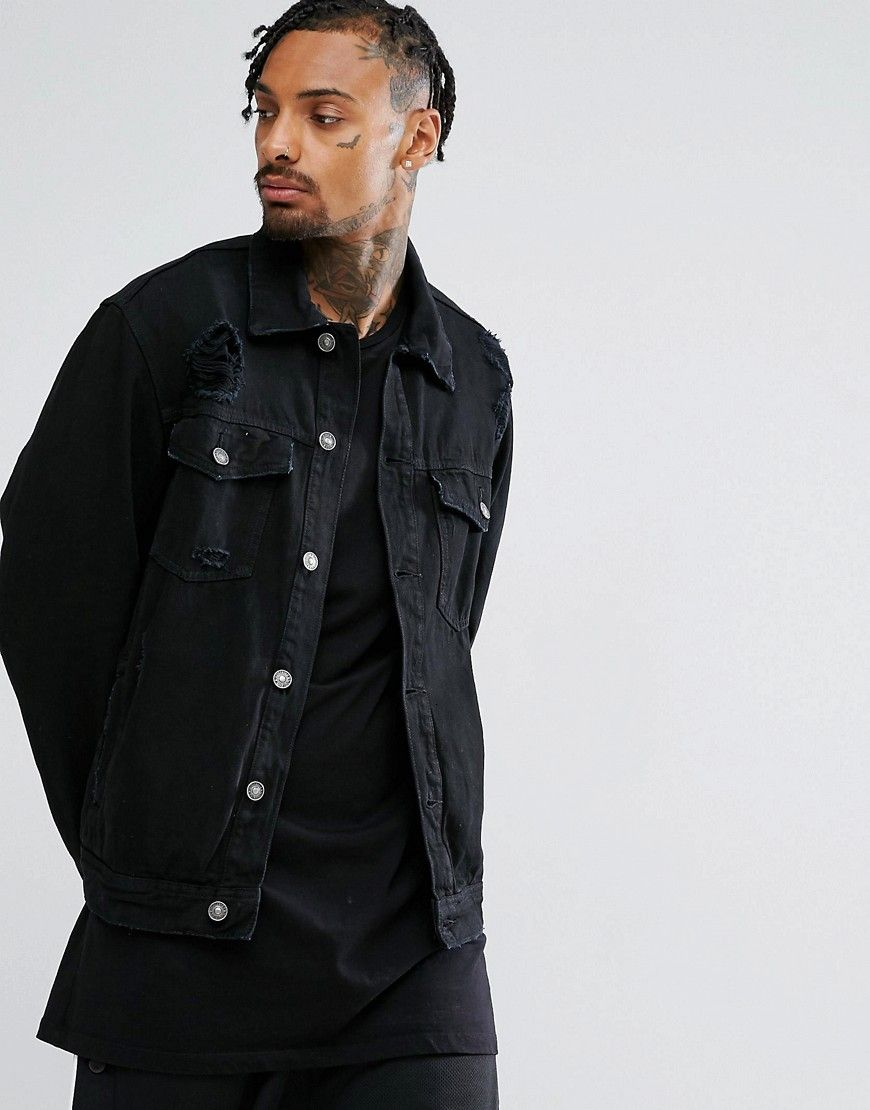 Bershka Ripped Denim Jacket In Black Black Denim Jacket Ripped Denim Jackets [ 1110 x 870 Pixel ]
