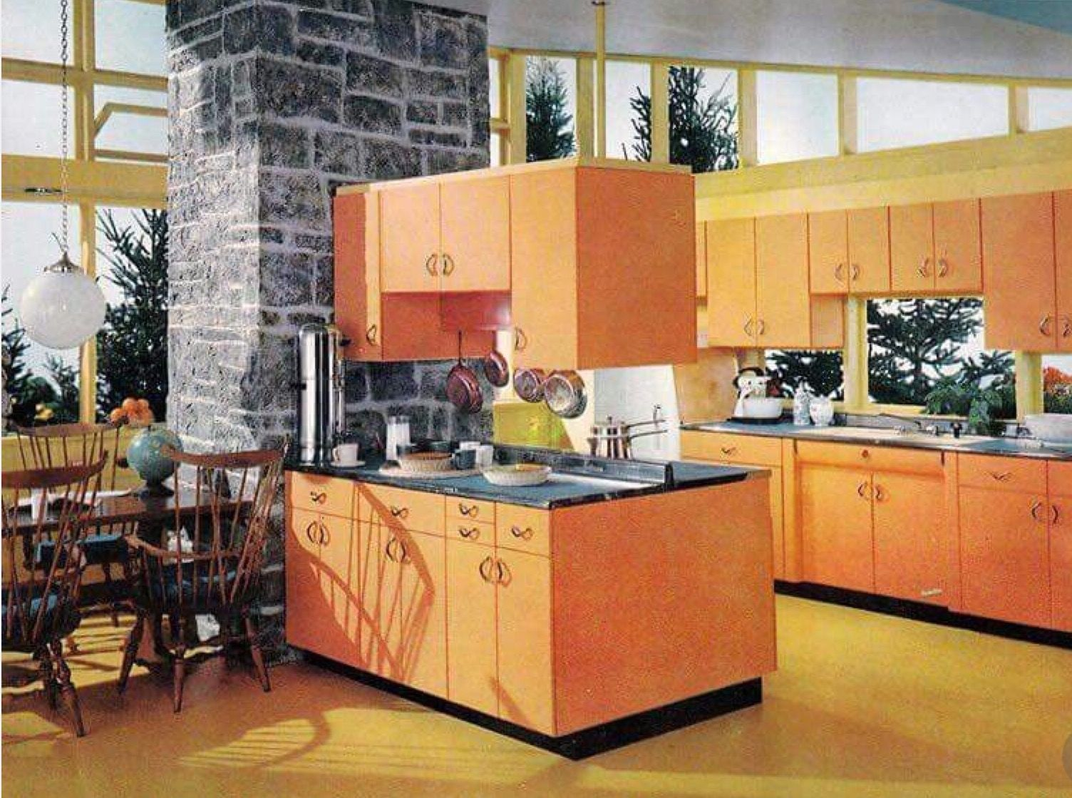 Mid Century Kitchen Kitchen Colors Metal Kitchen Cabinets Orange Cabinets