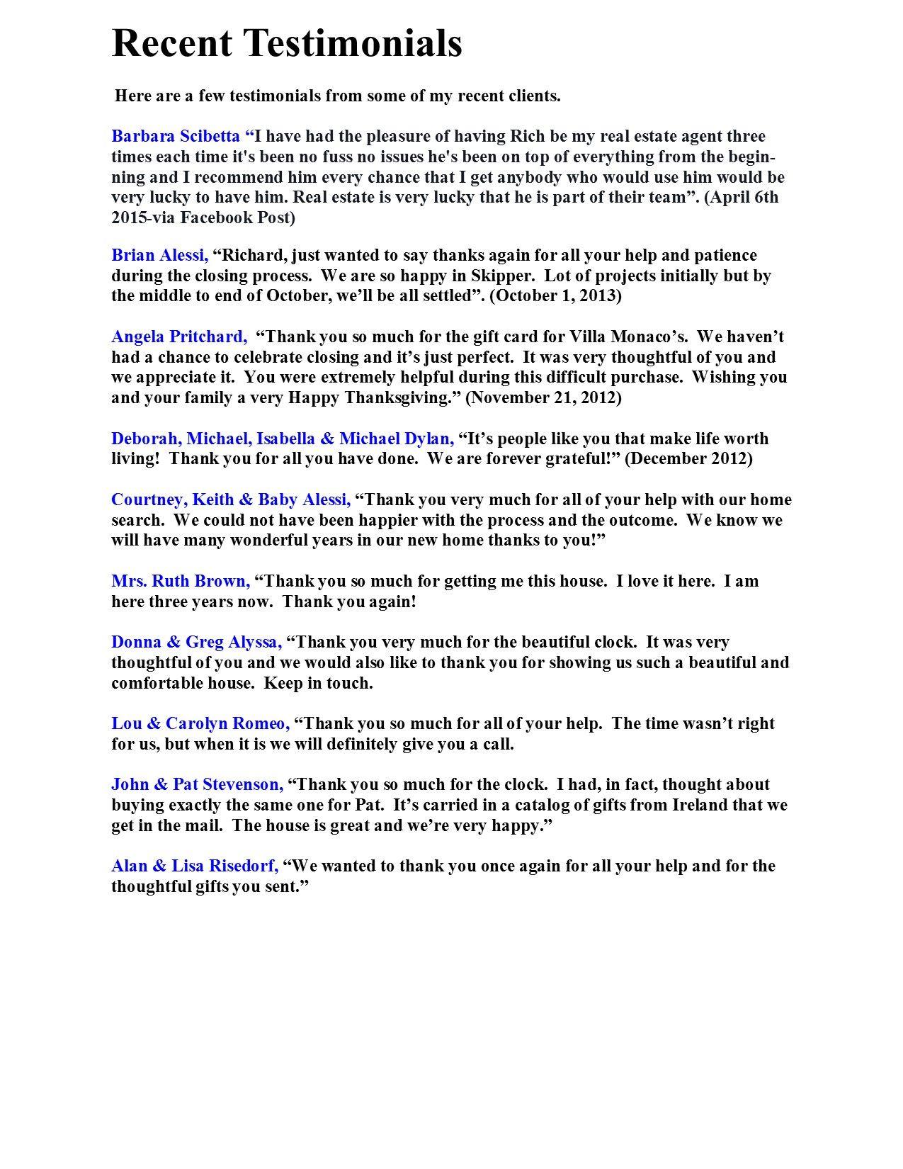 Testimonials Richard Bocchieri Page   Customer Testimonials