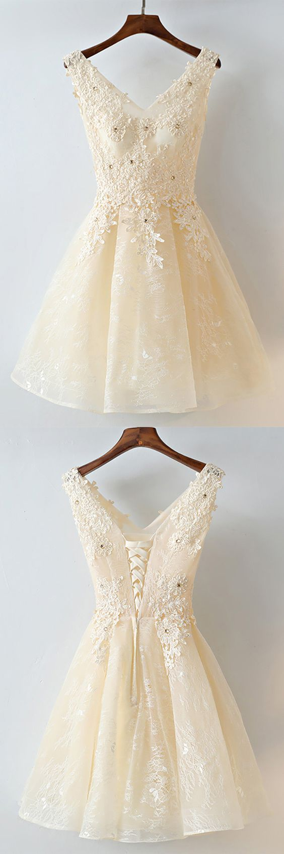 6967fd1c0845 Gorgeous Champagne Short Lace Homecoming Party Dress Sleeveless ...