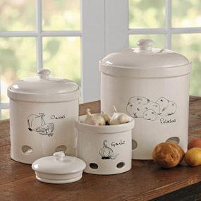 Potato, Onion And Garlic Keepers. Potato Canister Holds 10lbs. Potatoes