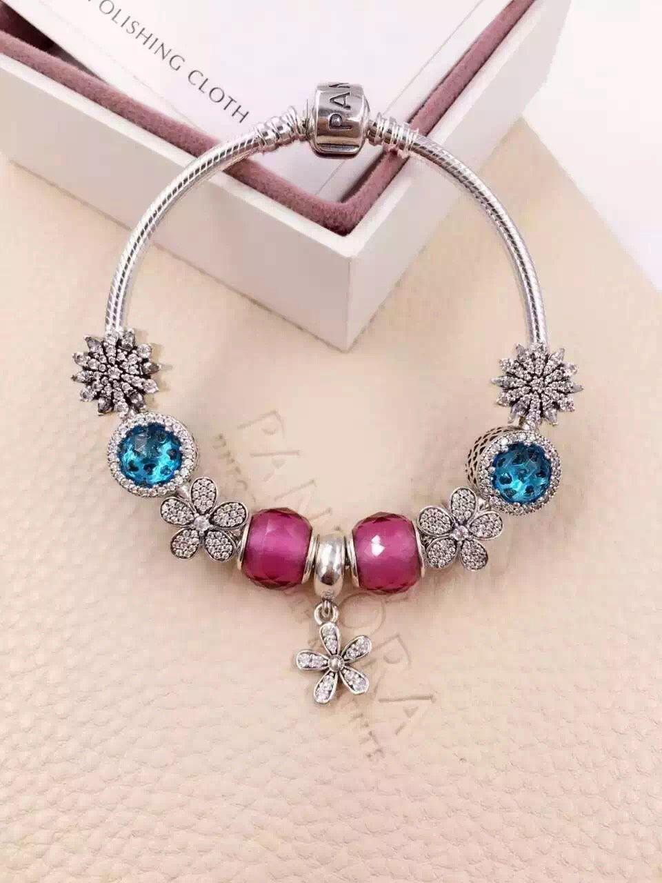 $239 Pandora Charm Bracelet Pink Blue. Hot Sale!