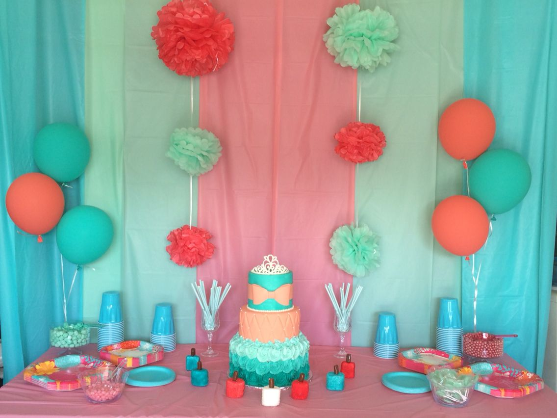 Teal And Coral Cake Table I M So Proud Of Myself For