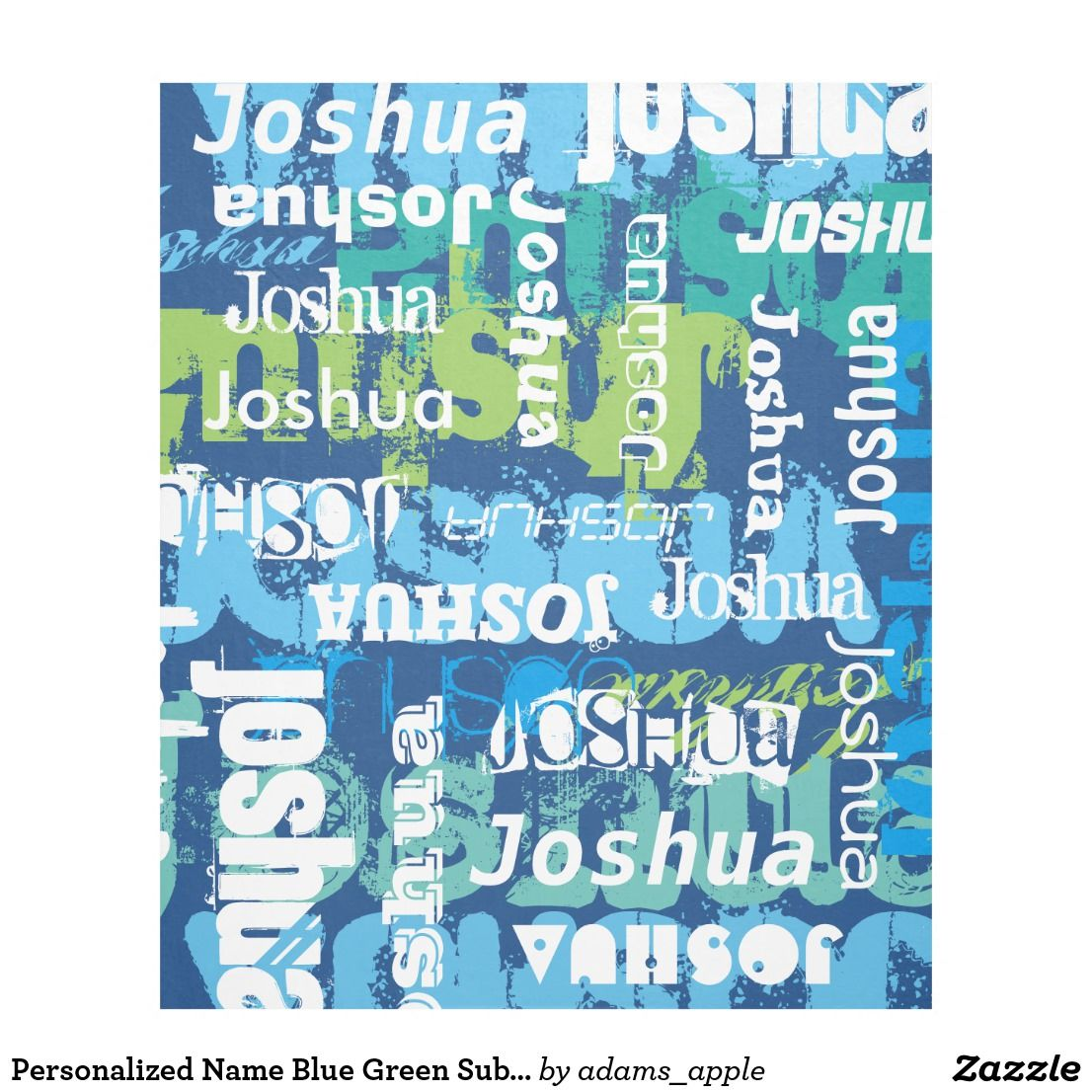 Personalized Name Blue Green Subway Art Fleece Blanket Zazzle Com