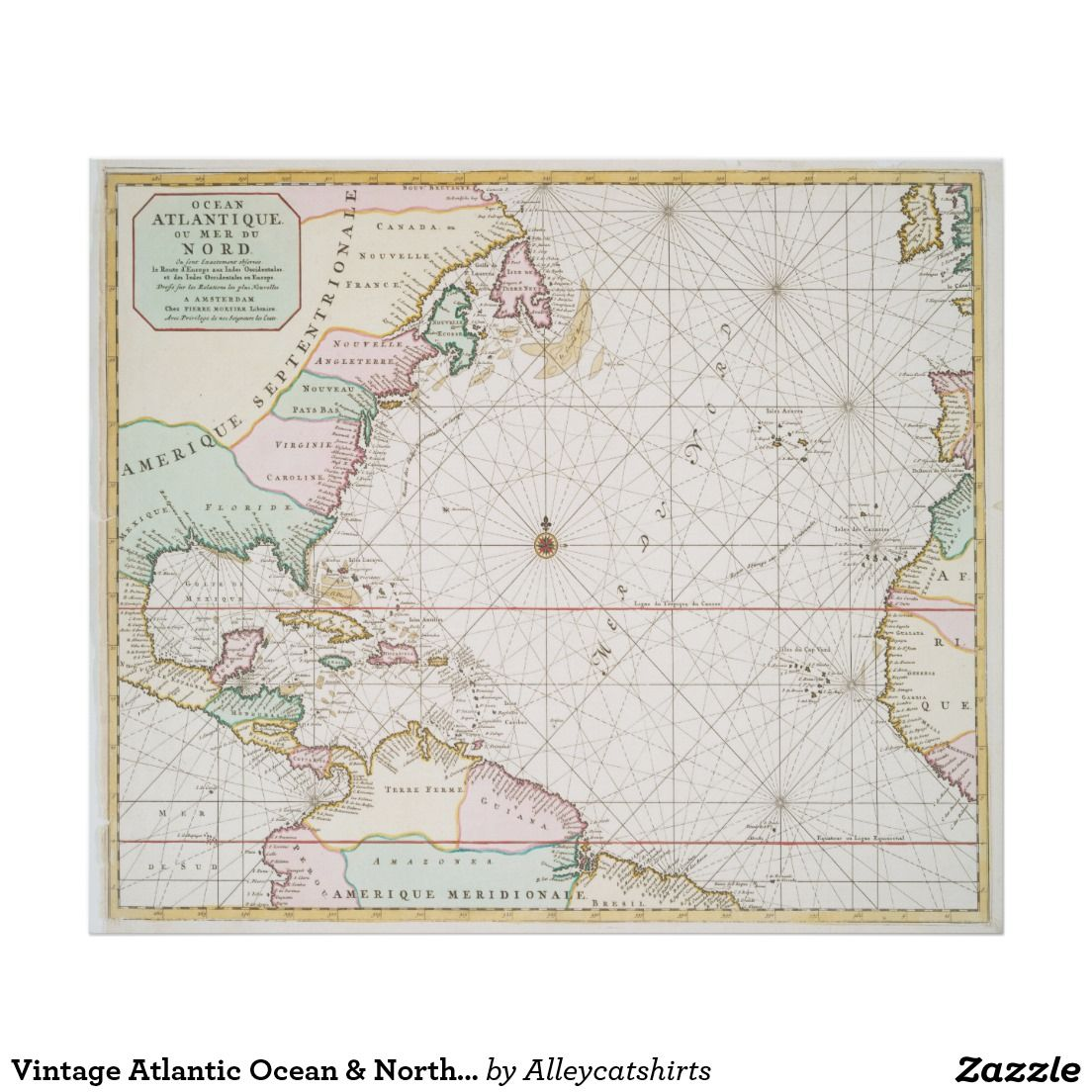 hight resolution of vintage atlantic ocean north america map 1700s poster atlantic