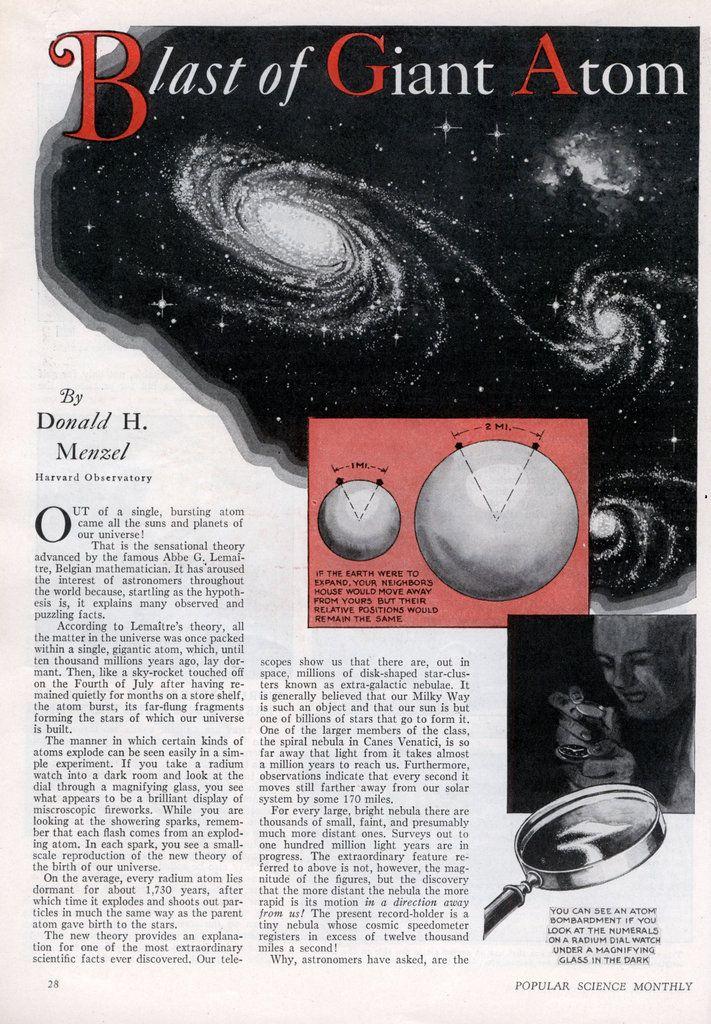 Blast of Giant Atom Created Our Universe (Dec, 1932)   Modern Mechanix