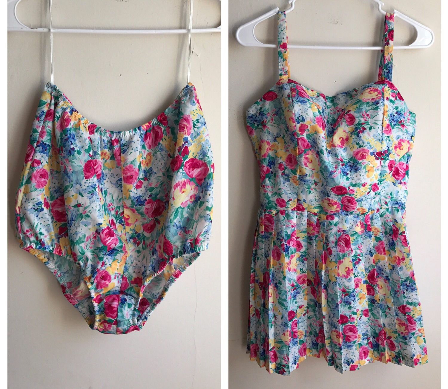 Vintage 60s Swimsuit | High Waisted Vintage Bathing Suit | Floral Pattern Boho Swimsuit | Pleated Skirt Bathing Suit | Peplum Swimwear by VintageBobbieMaude on Etsy https://www.etsy.com/listing/506971896/vintage-60s-swimsuit-high-waisted