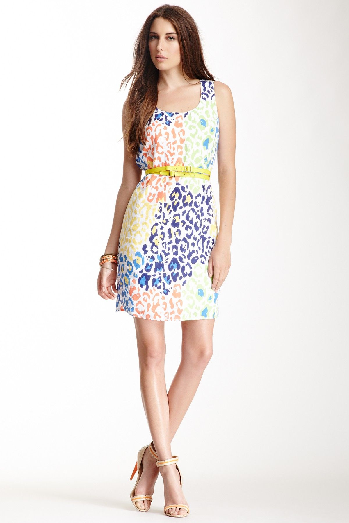 Belted multicolor leopard print linen dress clothing and style
