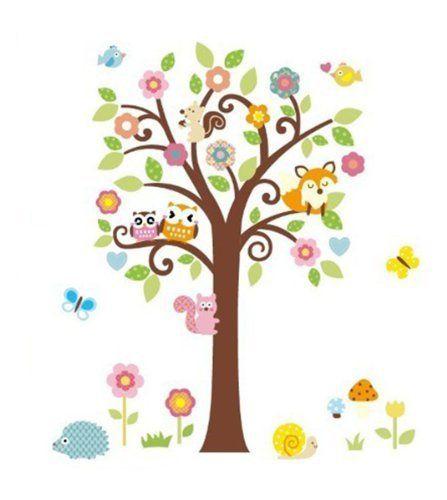 Trend WallStickersDecal Dschungel Wald Eule Eichh rnchen Fox u Gesang auf bunten Baum Wandtattoos f r Kinderzimmer