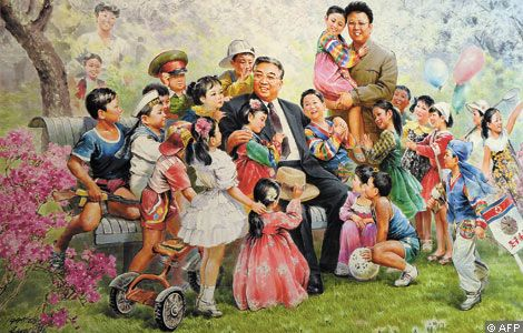 This picture is common in North Korea-.-. Notice one of the kids is actually holding a gun...