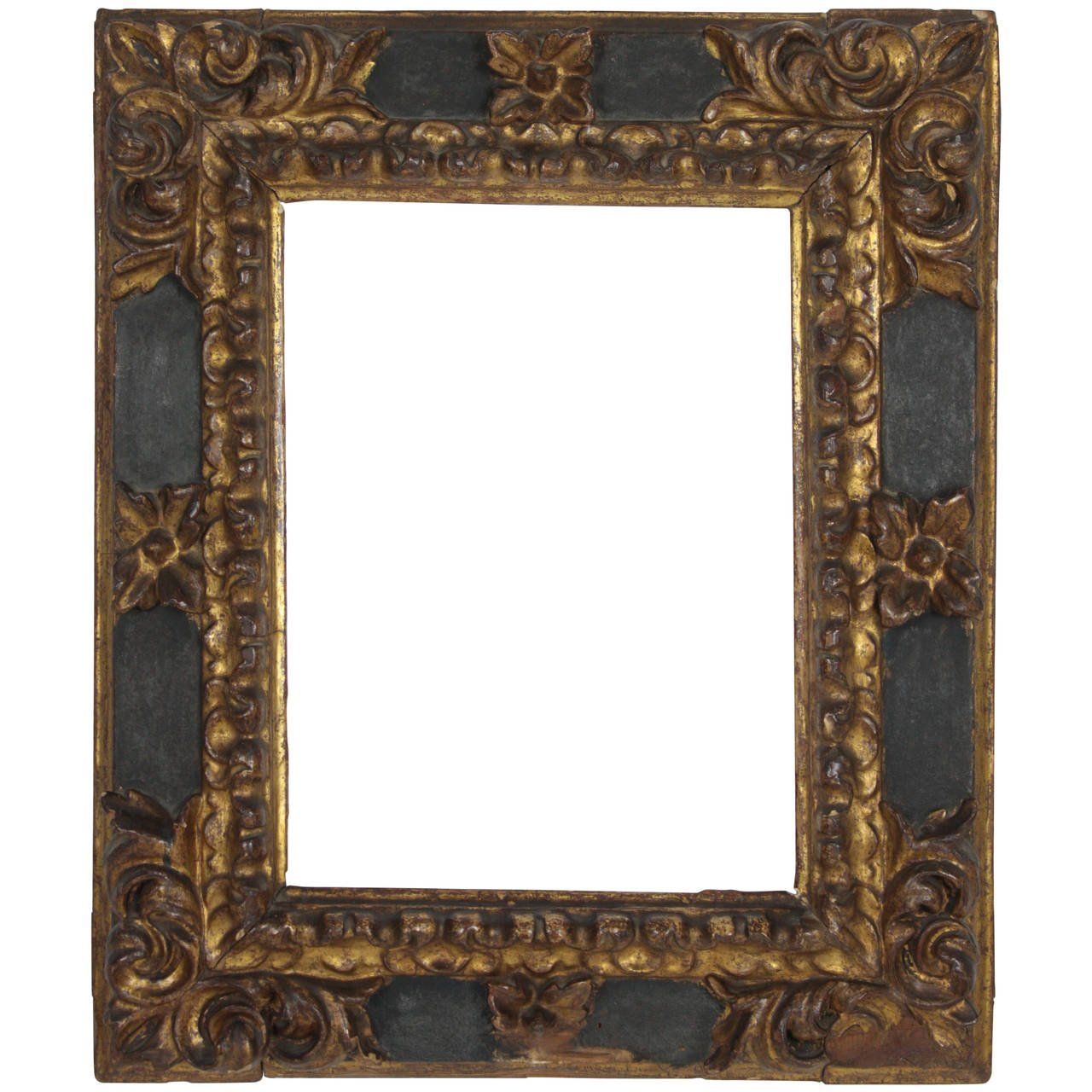 17th Century Spanish Baroque Carved Wood Gold Leaf Frame