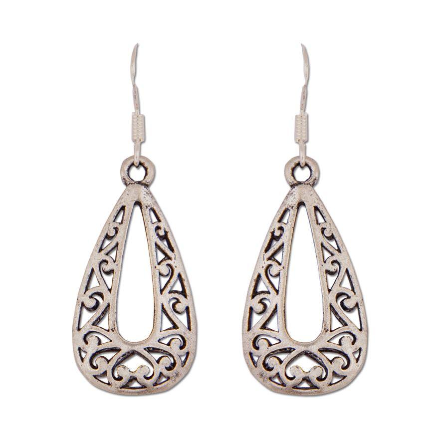 Pendientes Gota de Amor de estilo Otomano con cenefa labrada, apariencia de lágrima sobre ganchito de Plata de Ley.