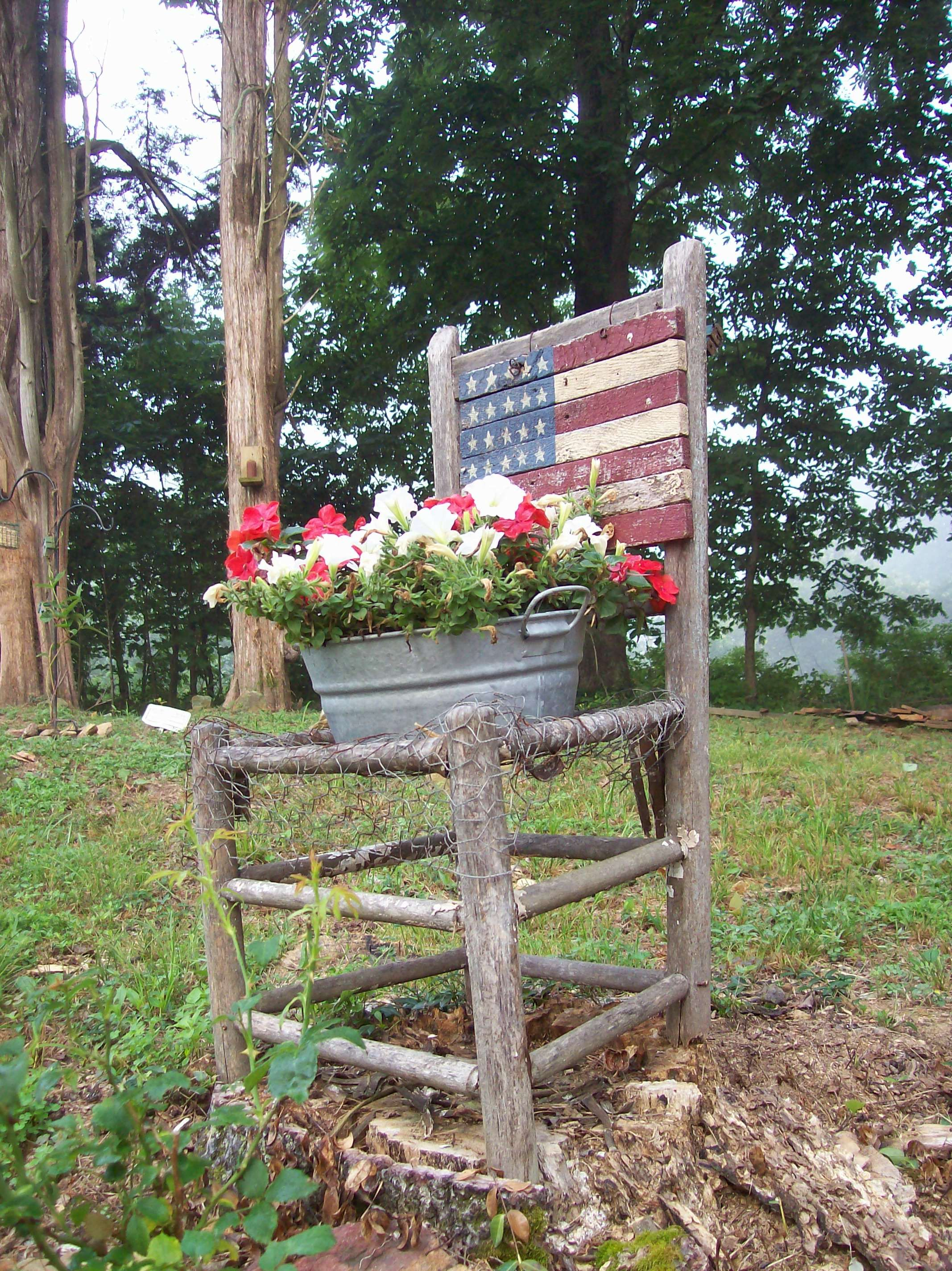 Old Primitive Chair Doubles As An American Themed Planter Nothing