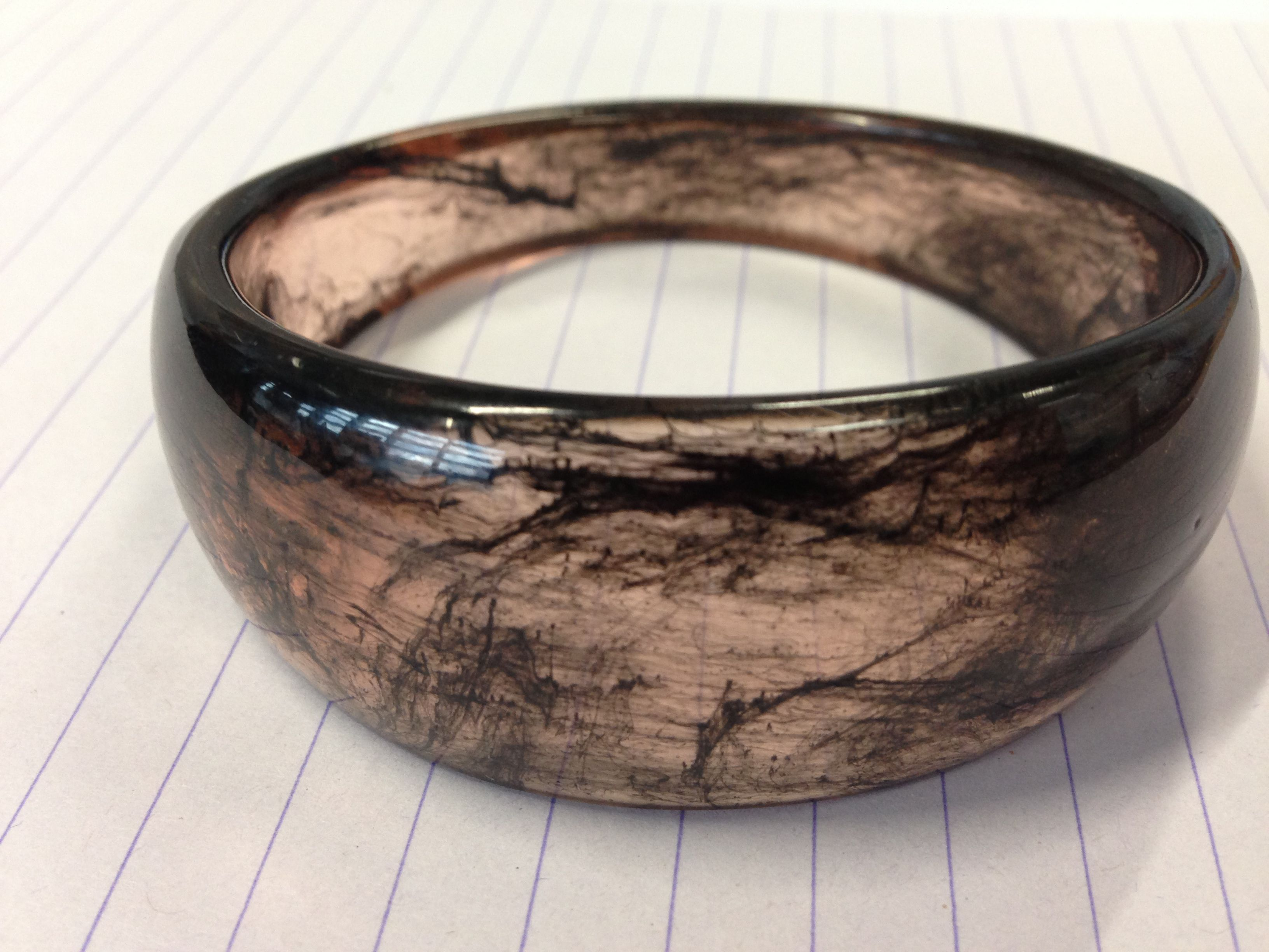 Resin Black swirl bangle by Summerification