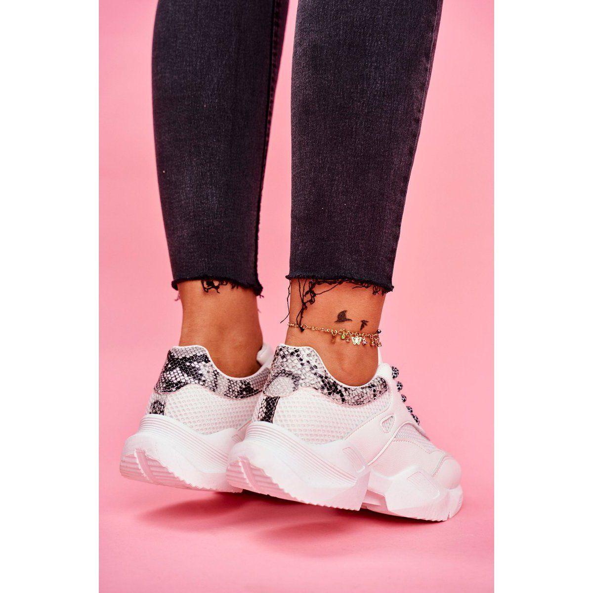 Ps1 Sportowe Damskie Buty Wezowe Biale Giselle Wedge Sneaker Fashion Shoes