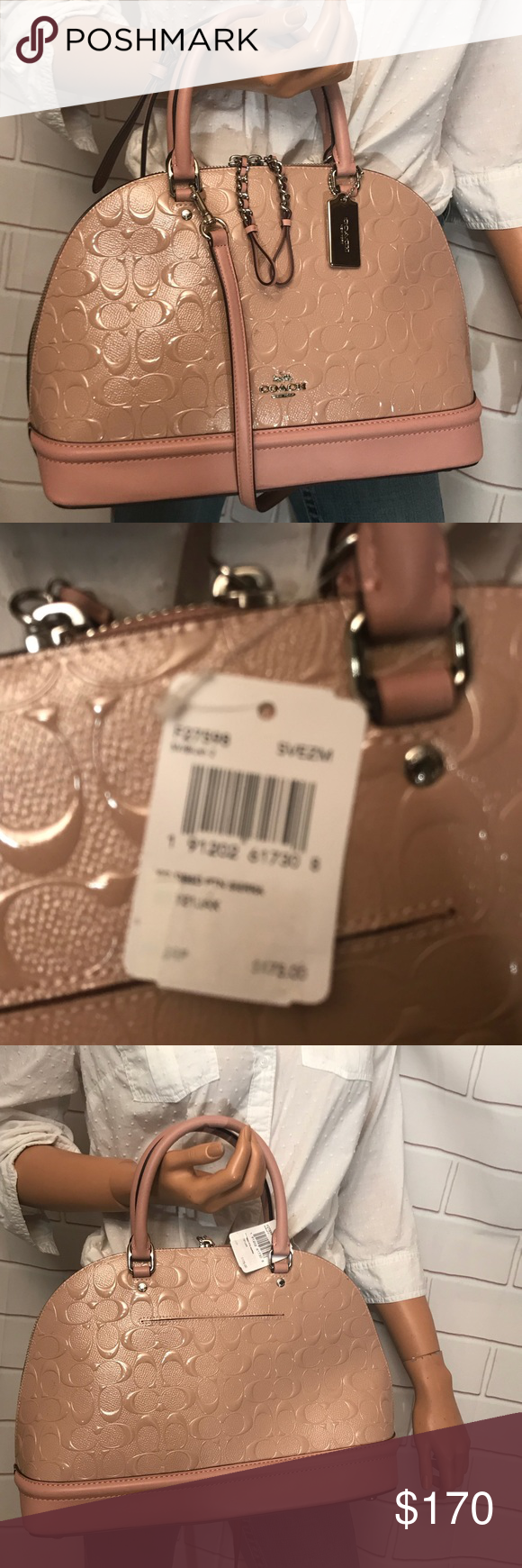 34334934ba47 NWT CoCh Leather Signature Domed Handbag Details Signature debossed patent  leather Inside zip