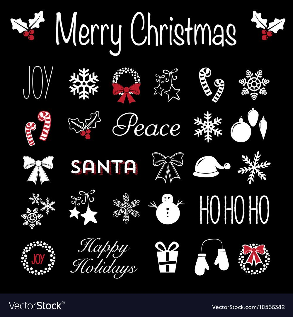 Christmas blackboard icons and text in black white and red christmas blackboard icons and text in black white and red holiday typography and graphic logo biocorpaavc Images