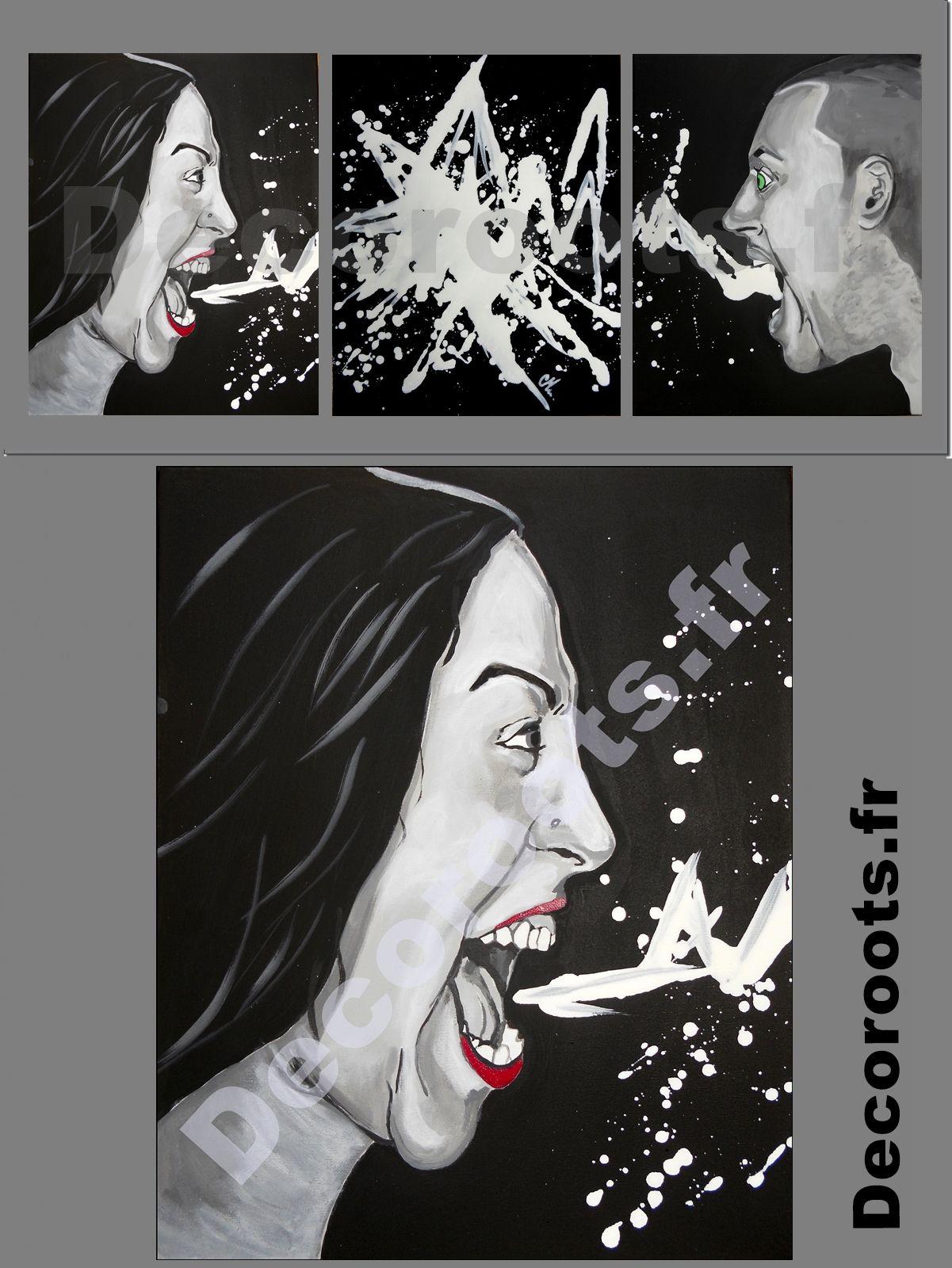 Tableau deco design contemporain noir blanc col re sept for Tableau contemporain