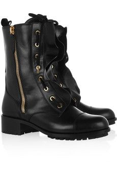 Valentino Ruffle Combat Ankle Boots cheap sale with credit card kBINQC