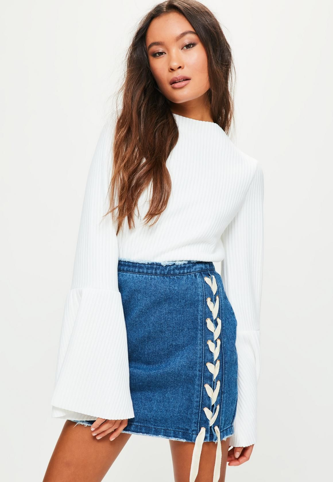 b9d3620cb9 Missguided - Petite Blue Lace Up Front Denim Skirt | stuff i like ...