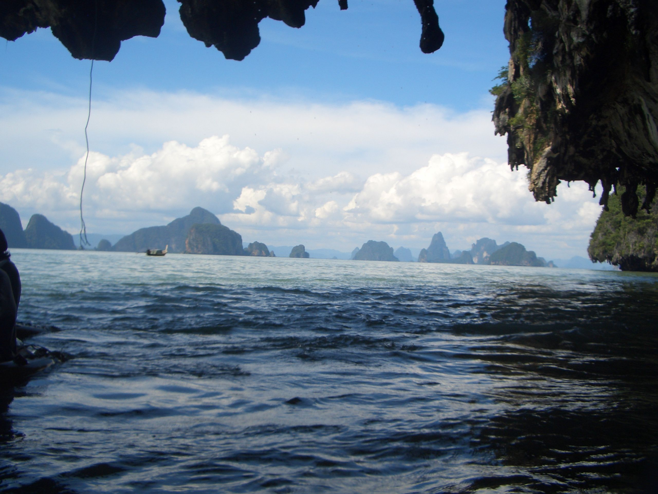 Thailand...fishing tether hanging down on left side to assist with navigation.