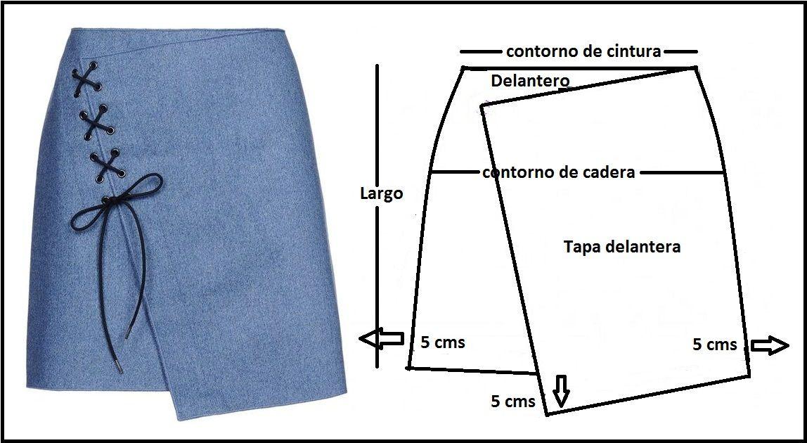 Esta jovial falda cruzada, con trenza en diagonal que enfatiza el ...