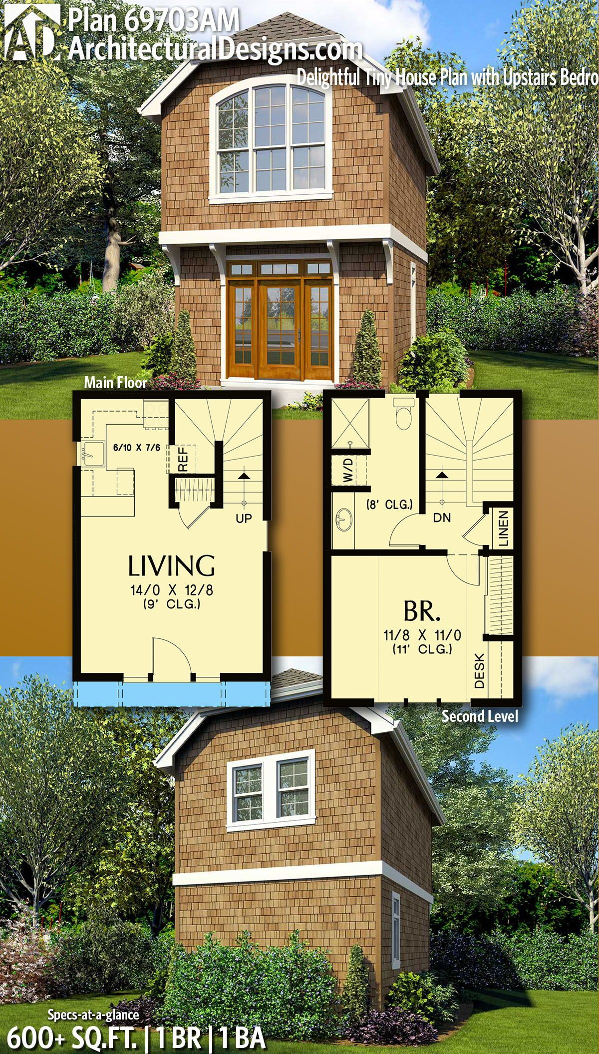 Plan 69703am Delightful Tiny House Plan With Upstairs Bedroom Tiny House Floor Plans Tiny House Plan Sims House Plans