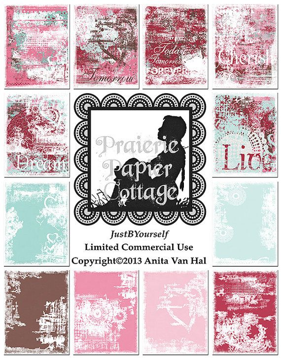 Printable Art Journal Pages Grunge Love 1 Set of 12 done in pinks, blues, and brown by JustBYourself, $3.50; limited commercial use okay.