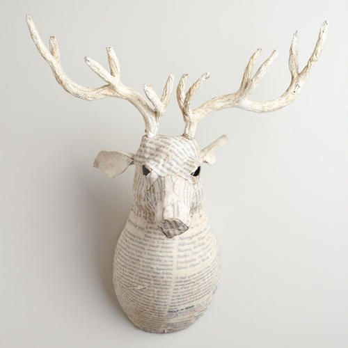One of my favorite discoveries at WorldMarket.com: White Canvas Reindeer Bust